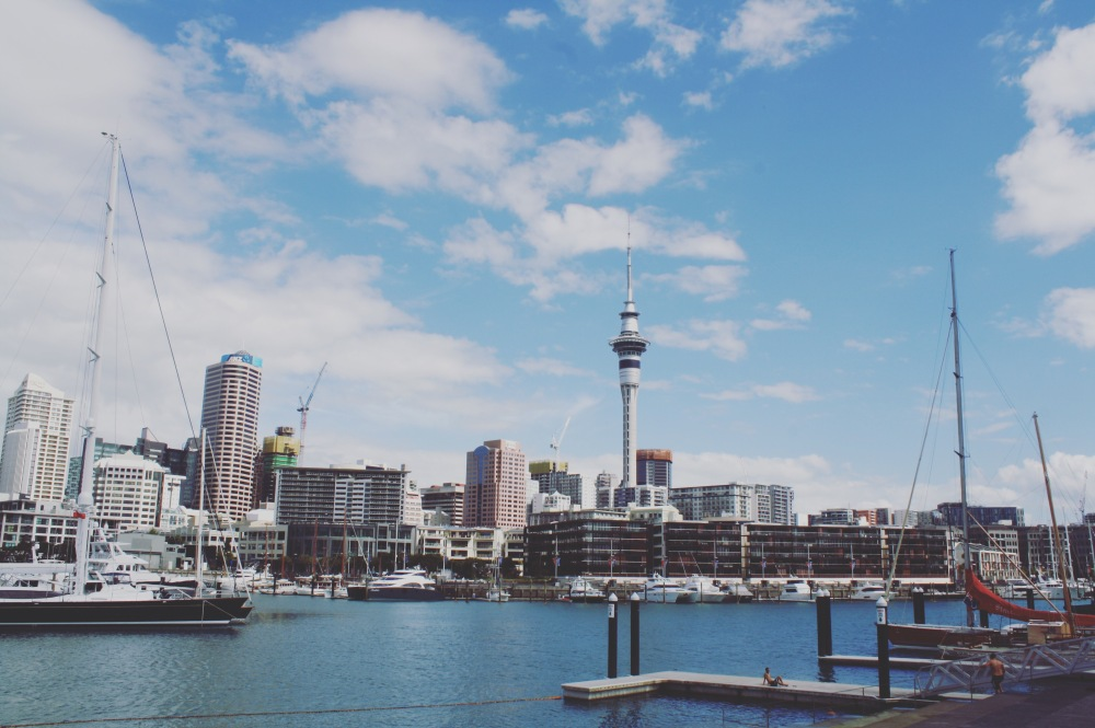 Auckland Viaduct Harbour with skytower in the background- The Wandering Darlings